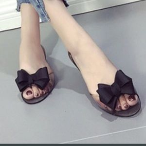 Shoes - Super Soft Clear Jelly Shoes Flats w Black Bow